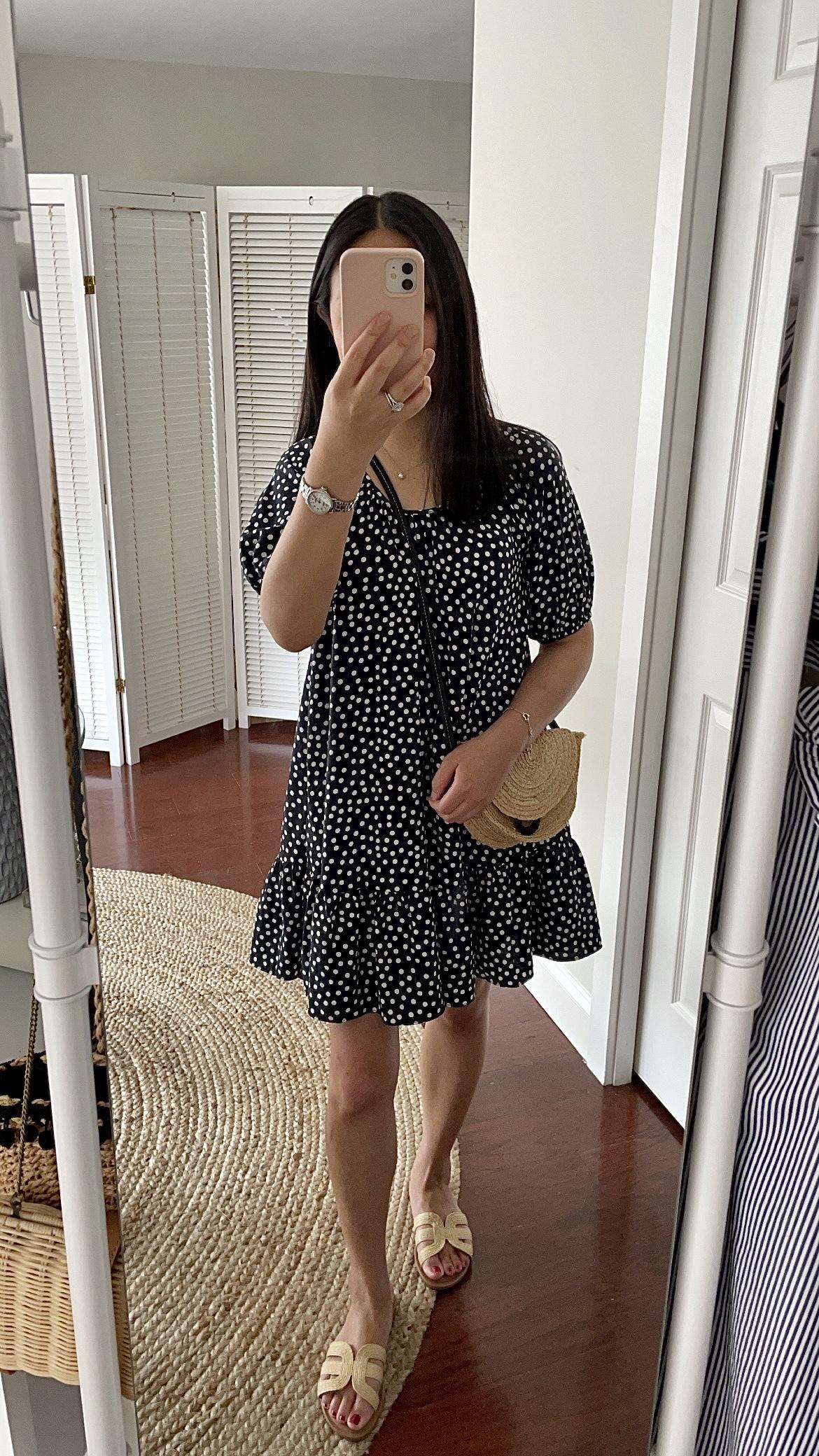 Ann Taylor Polka Dot Tie Back Flounce Shift Dress, size XSP