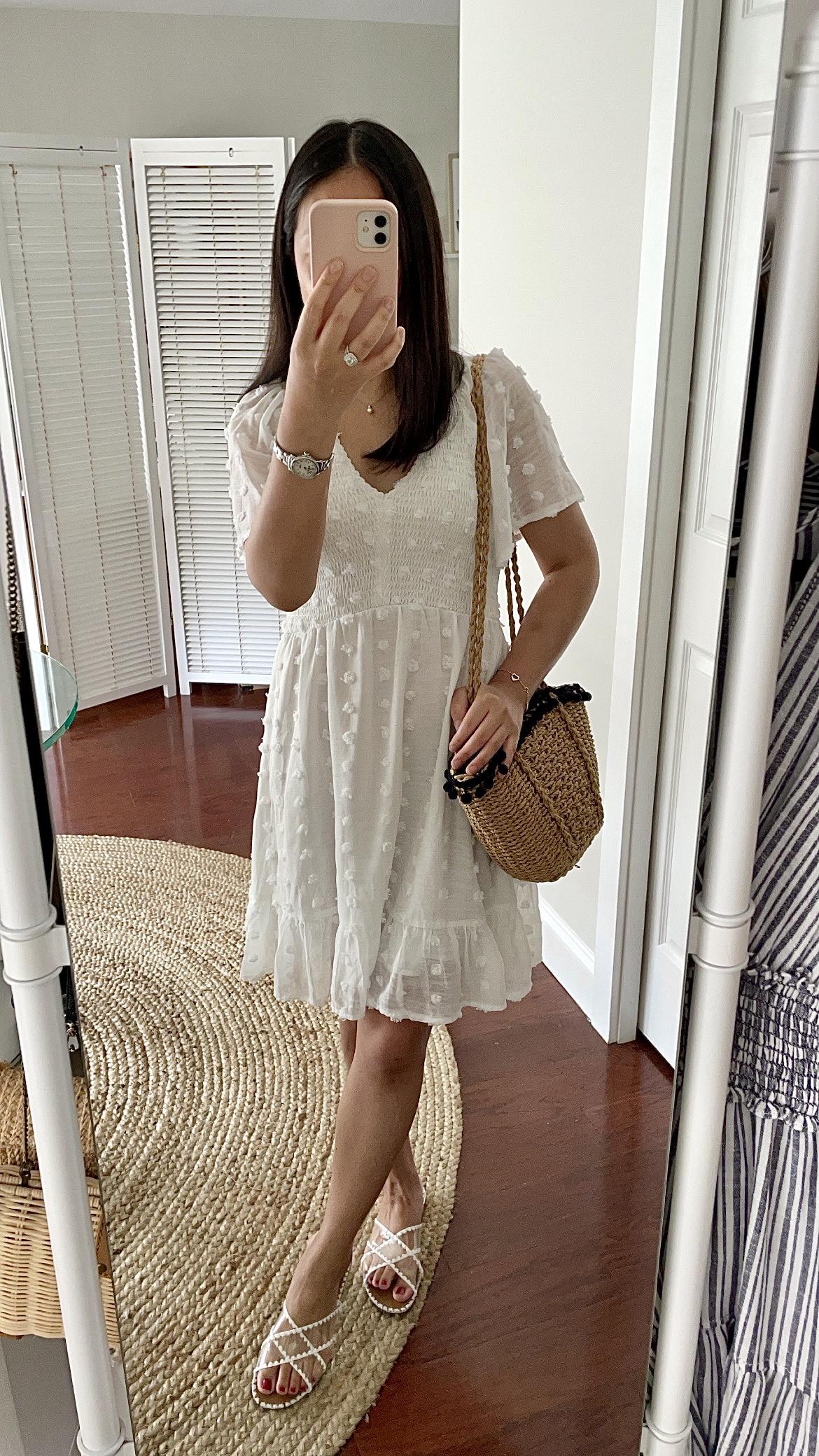 White Swiss Dot Dress, size S