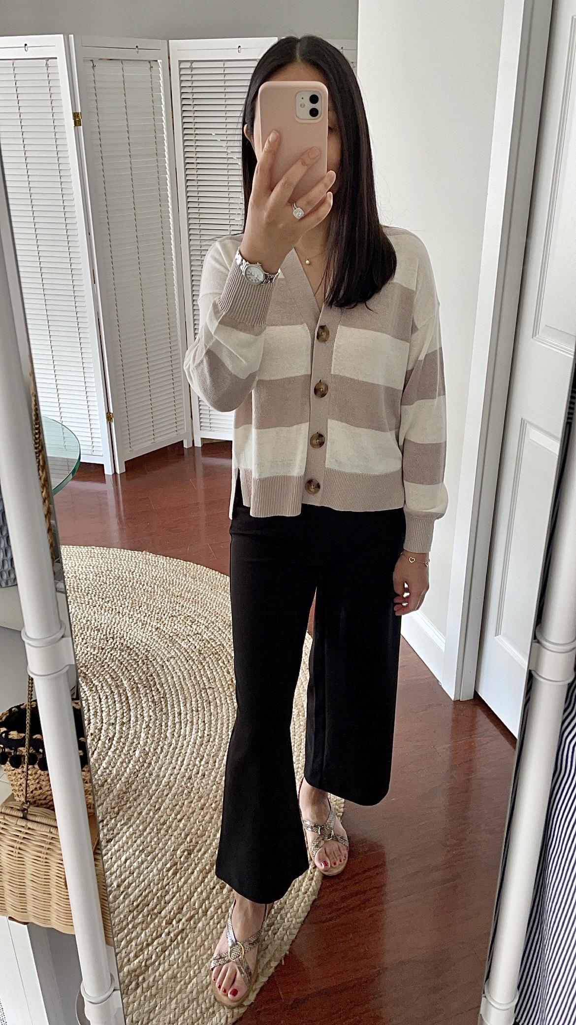 Ann Taylor Striped Linen Blend Cardigan, size XSP