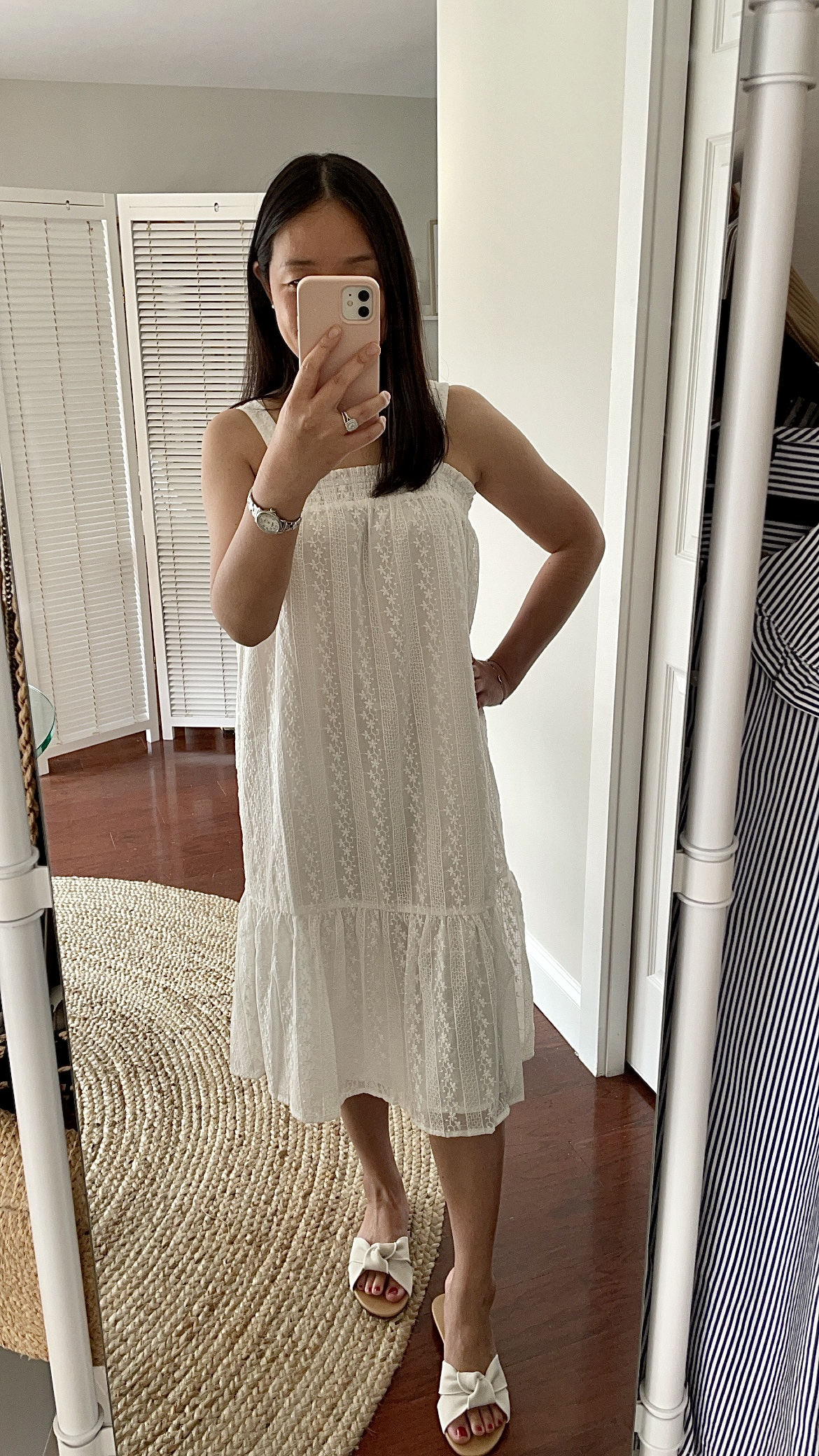 LOFT Smocked Square Neck Midi Dress, size XSP