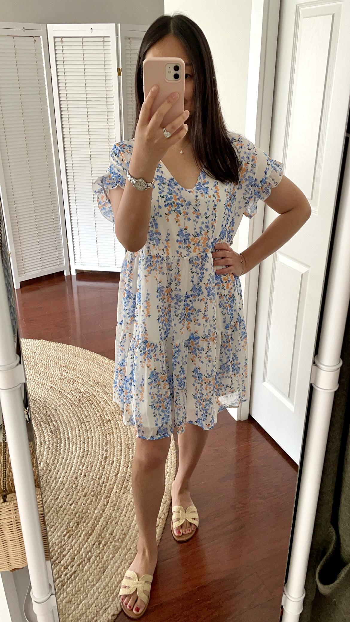 Theenkoln Floral Printed Flowy Swing Dress, size S