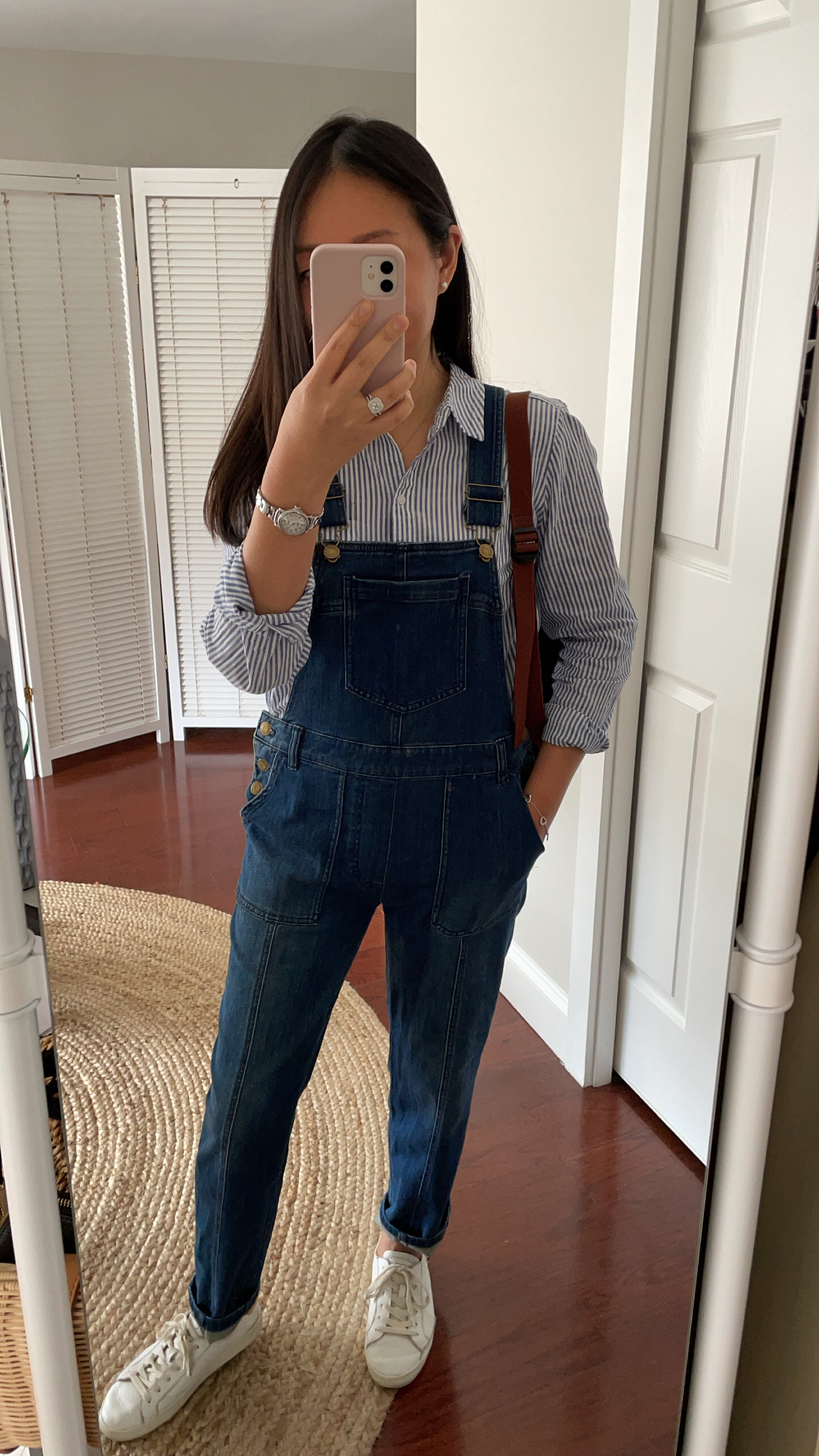 Pilcro Seamed Relaxed Denim Overalls, size 26P