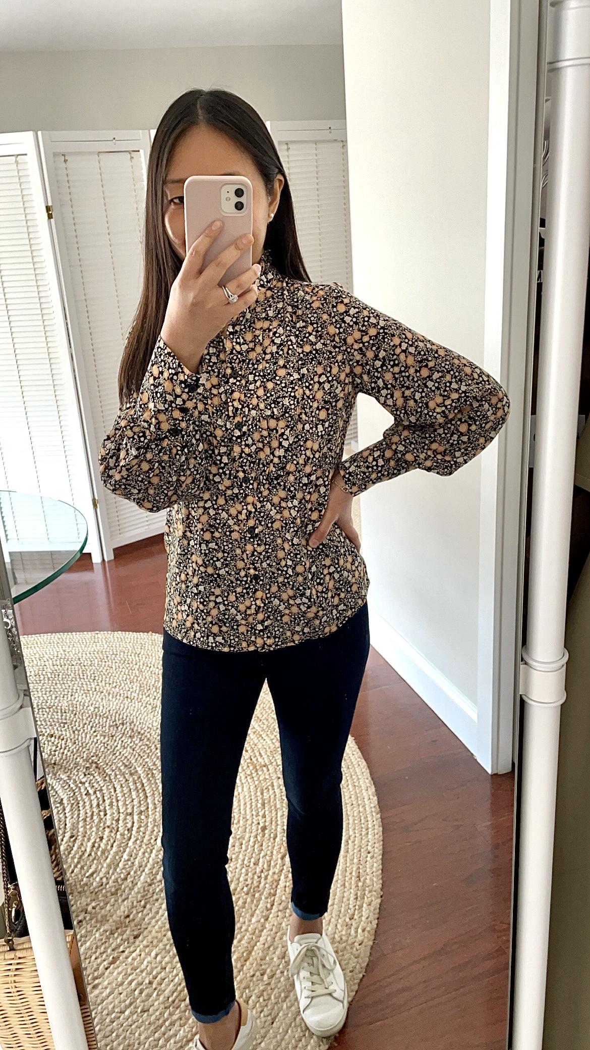 Nili Lotan x Target Women's Floral Print Long Sleeve Pleated Blouse, size XXS